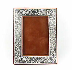 American Sterling Silver On Faux Leather Photo Frame Vintage Hand Chased