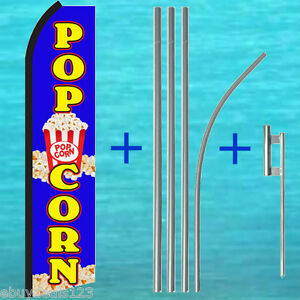 Popcorn Blue Swooper Flag 15 Tall Pole Mount Kit Flutter Feather Banner Sign