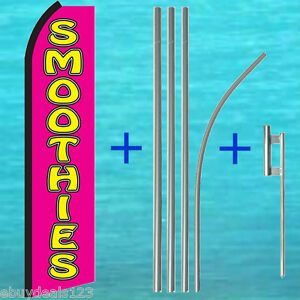 Smoothies Swooper Flag 15 Tall Pole Mount Kit Flutter Feather Banner Sign