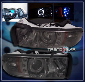 1994 2001 Dodge Ram Halo Led Projector Headlights Lamp Smoke Lens 1500 2500 3500