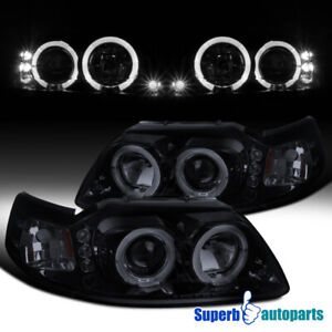 For 1999 2004 Ford Mustang Led Halo Projector Headlights Lamps Glossy Black Pair