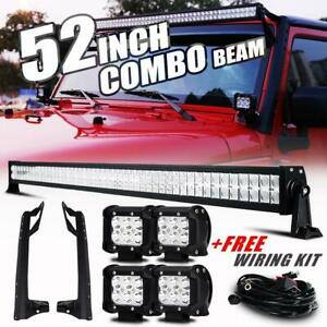 52 700w Led Work Light Bar 2x 4 Light Pods Mount Bracket For Jeep Wrangler Jk