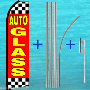 Auto Glass Swooper Flag 15 Tall Pole Mount Kit Flutter Feather Banner Sign