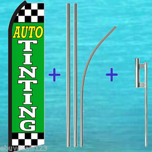 Auto Tinting Swooper Flag 15 Tall Premium Pole Mount Flutter Feather Banner