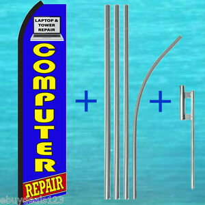 Computer Repair Swooper Flag 15 Tall Pole Mount Flutter Feather Banner Sign