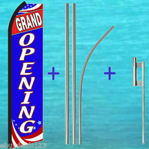 Grand Opening Swooper Flag 15 Tall Premium Pole Kit Flutter Feather Banner