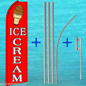 Ice Cream Swooper Flag 15 Tall Pole Mount Kit Flutter Feather Banner Sign