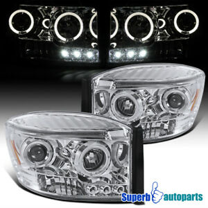 For 2006 2008 Dodge Ram 1500 2500 3500 Led Halo Projector Headlights