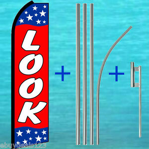 Look Swooper Flag 15 Tall Pole Mount Kit Flutter Feather Banner Sign 25 1992