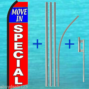Move In Special Swooper Flag 15 Tall Pole Kit Flutter Feather Banner Sign