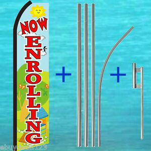 Now Enrolling Swooper Flag 15 Tall Pole Kit Flutter Feather Banner Sign 3025