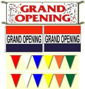 Grand Opening Banner Flags Pennants Sign Package Free Same Day Ship