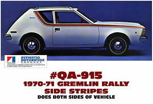 Qa 915 1970 71 Amc American Motors Gremlin Rally Side Stripe Decal