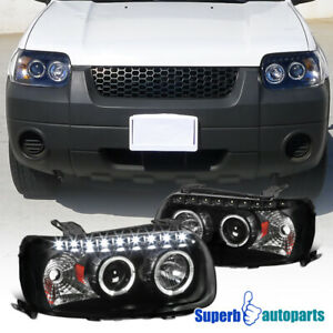 2005 2007 Ford Escape Dual Halo Projector Smd Led Headlights Lamps Black