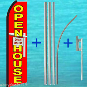 Open House Red W sign Swooper Flag Pole Mount Flutter Feather Banner 25 1977