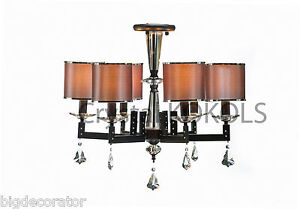 Chandelier Crystal Lighting 6 Shades Modern Oil Rubbed Bronze Ceiling Mount 16 6