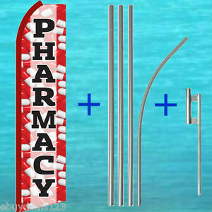 Pharmacy Swooper Flag 15 Tall Pole mount Kit Flutter Feather Banner Sign 1945