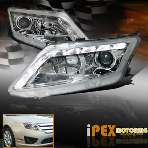 2010 2011 2012 Ford Fusion S Se Sel Ultra Led Drl Bar Projector Headlight Chrome
