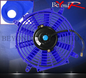 For Toyota 10 Eletric Fan Turbo Super Charger Radiator Intercooler 12v Jdm Blue
