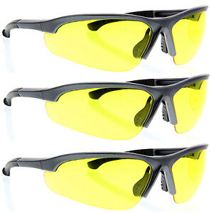 3 Pairs Lot Gray Yellow Clear Safety Glasses Z87 Protective Eyewear Wholesale