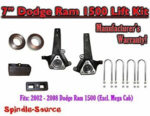 2002 2008 Dodge Ram 1500 2wd 7 Front 3 Rear Spindle Coil Block Lift Kit