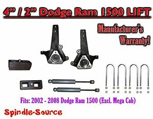 2002 2008 Dodge Ram 1500 2wd 4 Front 2 Rear Spindle Lift Kit W Rear Shocks