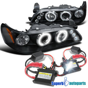 For 1993 1997 Toyota Corolla Led Halo Projector Headlights Black h1 Slim Hid Kit