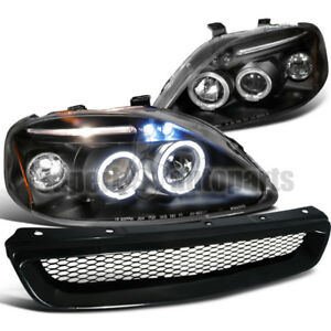 For 1999 2000 Civic Led Halos Projector Headlight Abs Mesh Hood Grille Black