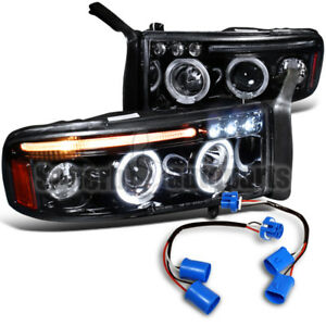1999 2001 Dodge Ram Sport Pack Led Halo Projector Smoke Headlights Glossy Black