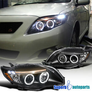 Fit 2009 2010 Toyota Corolla Clear Led Dual Halo Projector Headlights Black