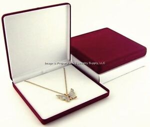 Lot Of 6 Burgundy Velvet Necklace Pendant Jewelry Display Packaging Gift Boxes L