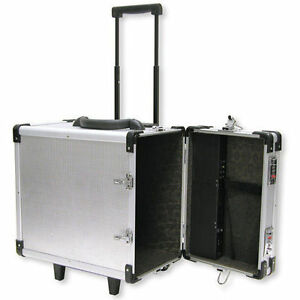 Aluminum Rolling Travel Jewelry Sales Case 15 1 2 With 12 Trays And Inserts