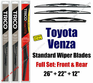 Wiper Blades 3 Pack Front Rear Fit 2009 Toyota Venza 30260 221 12a
