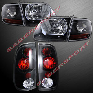 Set Of Black Housing Headlights W Corner Taillights For 1997 8 2003 Ford F150