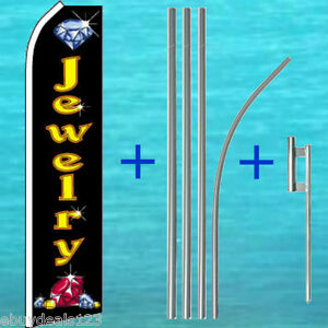 Jewelry Flutter Flag 15 Tall Pole Mount Kit Feather Swooper Banner Sign 1156