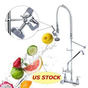 12 Commercial Wall Mount Kitchen Pre rinse Faucet W Add on Restaurant Tap