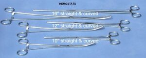 New 6pc Set Straight Curved Hemostat Forceps Locking Clamps Stainless