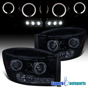 For 2006 2008 Ram 1500 2500 3500 Led Halo Projector Headlights Glossy Black