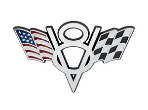 Ford Mustang Truck American Checkered Flags V8 4 Chrome Fender Trunk Emblem