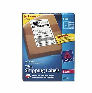 Avery Ave5126 Laser Shipping Labels Half Sheet White 200 Labels Permanent