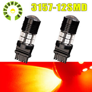 2 X 3157 3156 Red 7w High Power Projector Led Brake Tail Stop Lights Bulbs