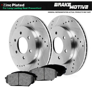 Front Drilled Slotted Brake Rotors And Metallic Pads K1500 Yukon 4wd 4x4 6lug