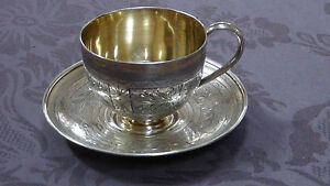 Antique 19c Russian Imperial 84 Silver Engraved Tea Cup Saucer Full Hallmarked