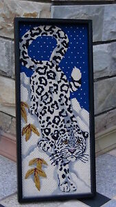 Antique Japanese Embroidery On The Cotton Snow Panther
