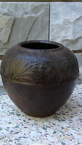 Antique 18c Chinese Cast Iron Vase Jar With A Floral Relief Border