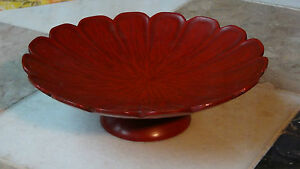 Antique Early 20c Chinese Red Lacquered Cinnabar Footed Compote Signed Dish