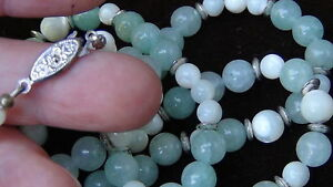 Antique Chinese Celadon Jade Necklase With Agate Silver Beads And Crasp