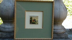 Antique 19 C Dutch Delft Miniature Ceramic Painted Tile Framed Signed Hupconel