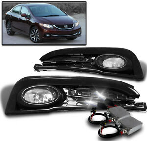 13 15 Honda Civic Sedan 4dr Bumper Driving Fog Light Chrome W 50w 8k Hid Switch