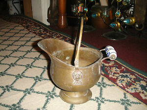 Vintage Copper Brass Coal Scuttle Bucket W Blue White Delft Handle Primitive